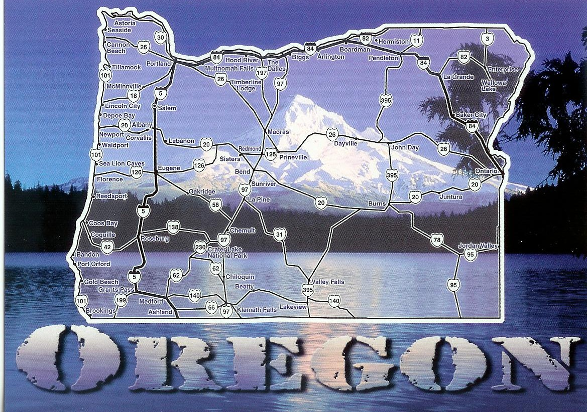 Oregon Map Mt Hood Remembering Letters And Postcards