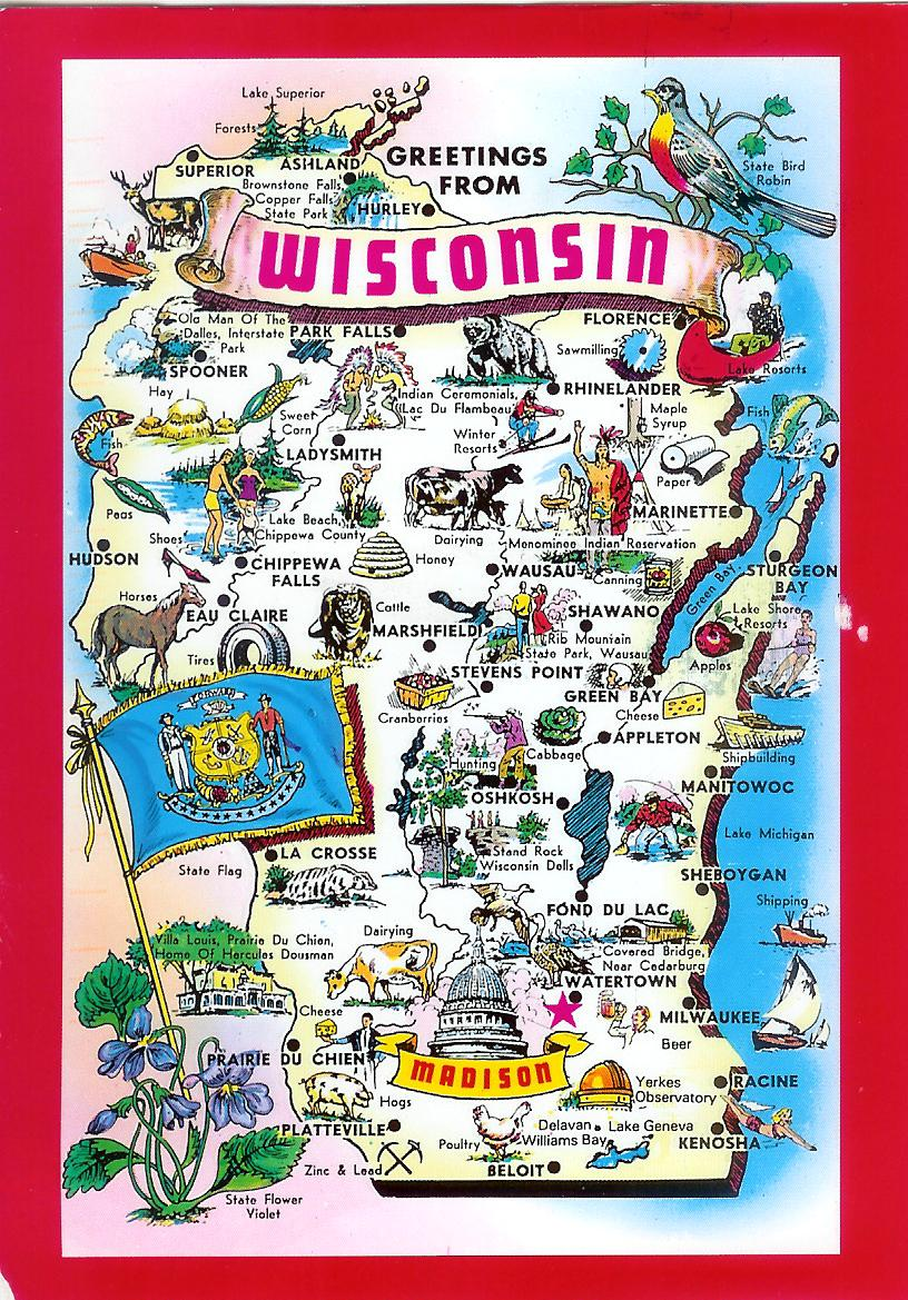 Wisconsin Map Remembering Letters and Postcards