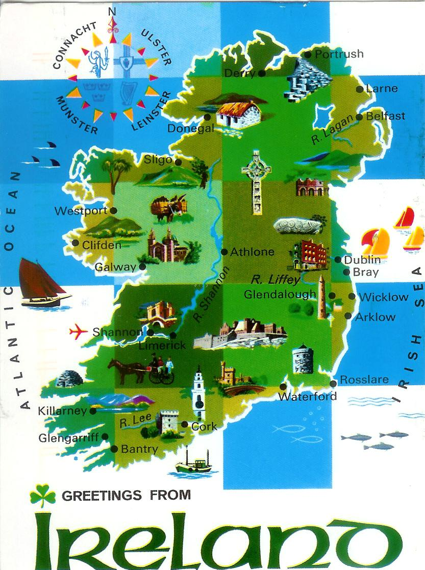 Remembering Letters and Postcards – Ireland Tourist Map