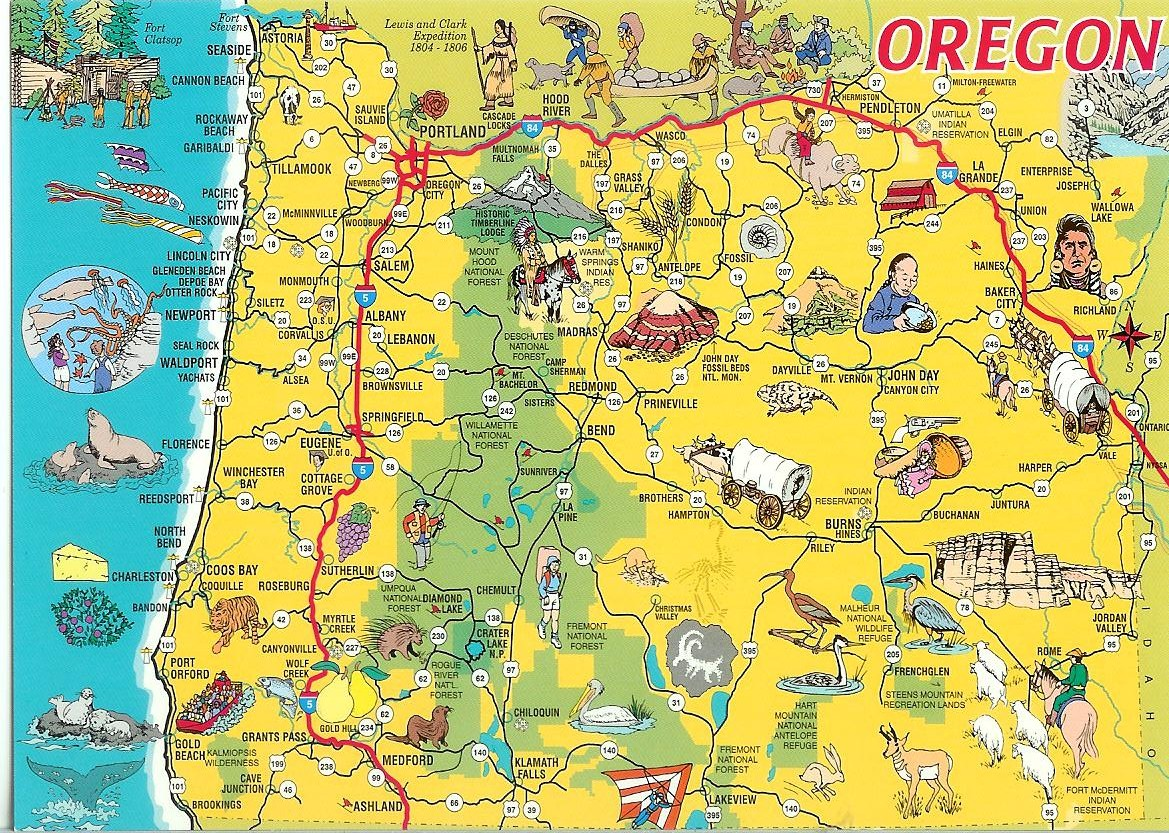 Oregon Map Image.Oregon Map Card Remembering Letters And Postcards