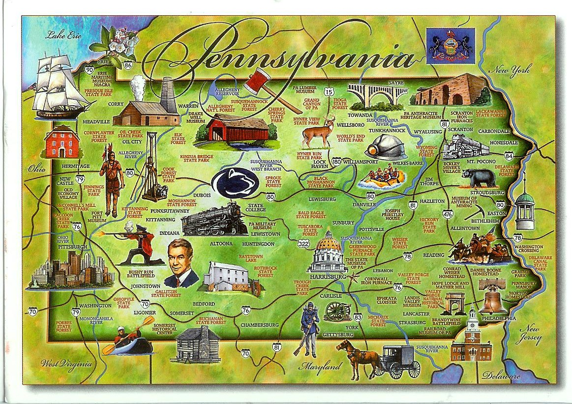 pennsylvania map card. pennsylvania map  remembering letters and postcards