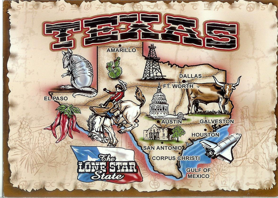 Texas The Lone Star State Map Remembering Letters And Postcards - Usa texas map