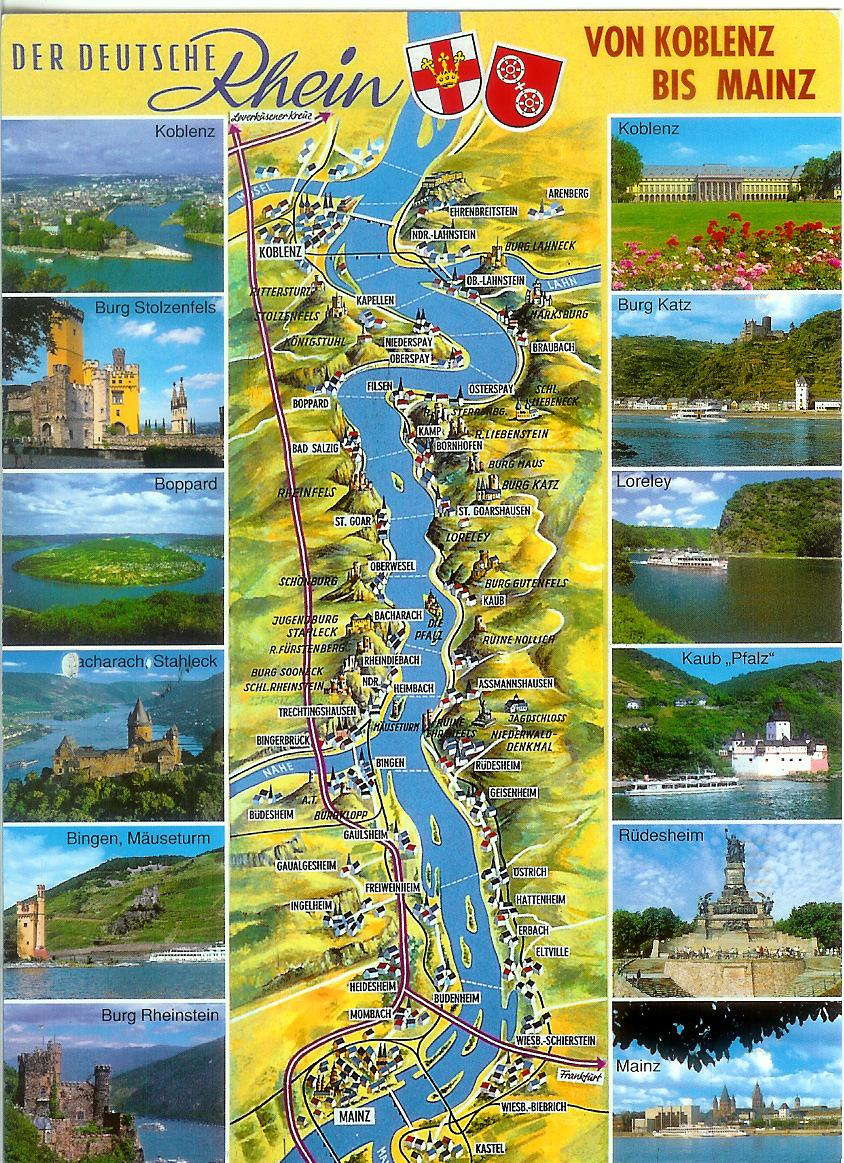 Map of the german rhine river valley remembering letters and