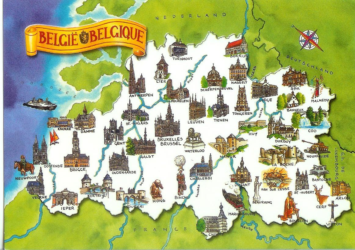 Belgium Map Card Remembering Letters and Postcards