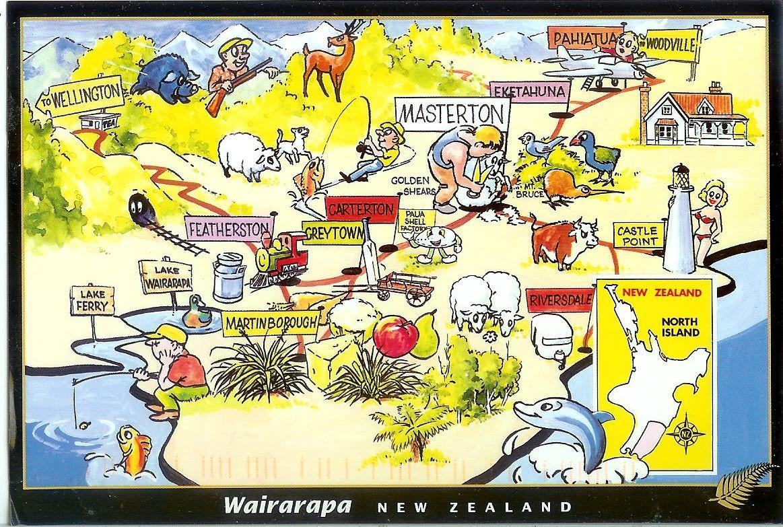 Wairarapa New Zealand Map.Map Of The Wairarapa New Zealand Remembering Letters And Postcards