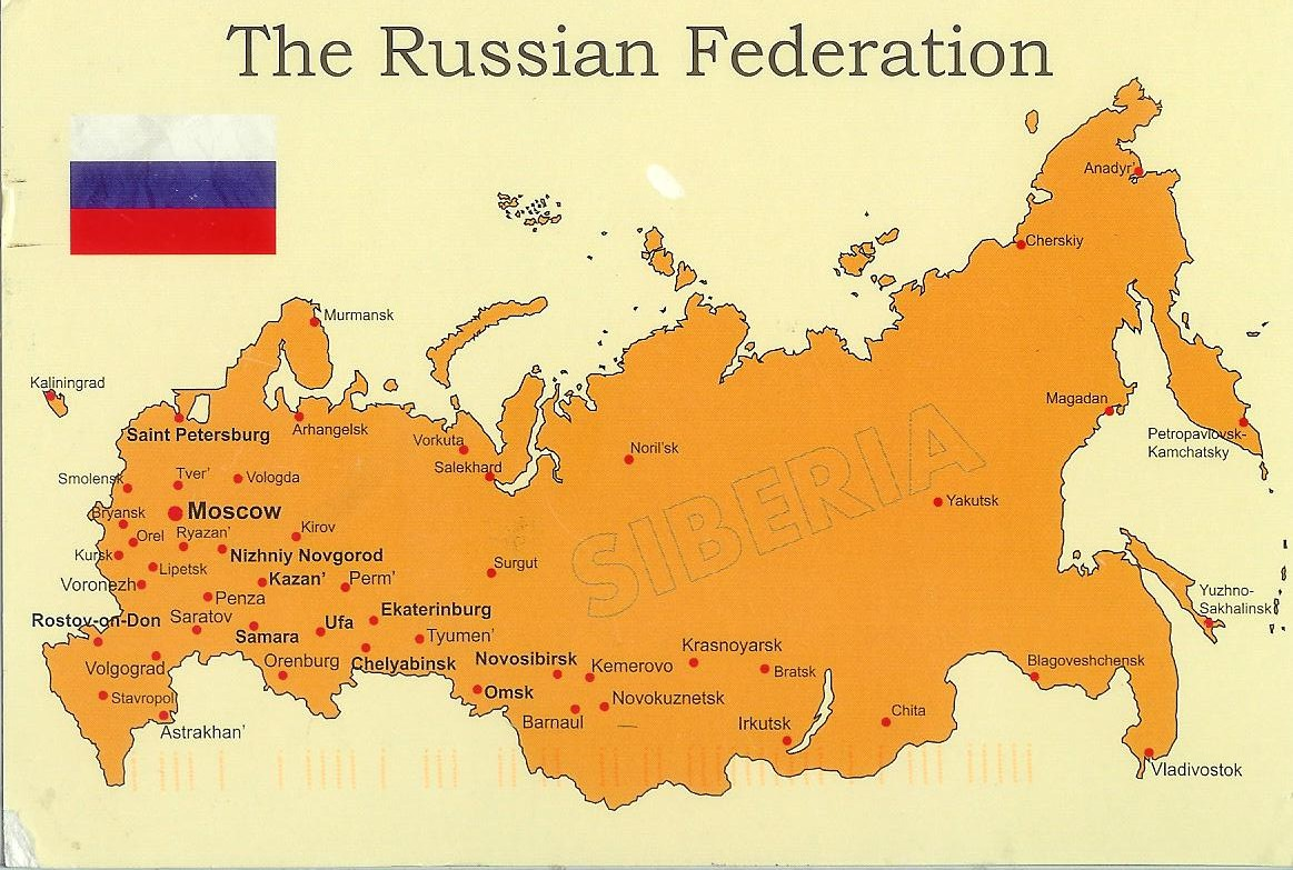 Map of The Russian Federation Remembering Letters and Postcards