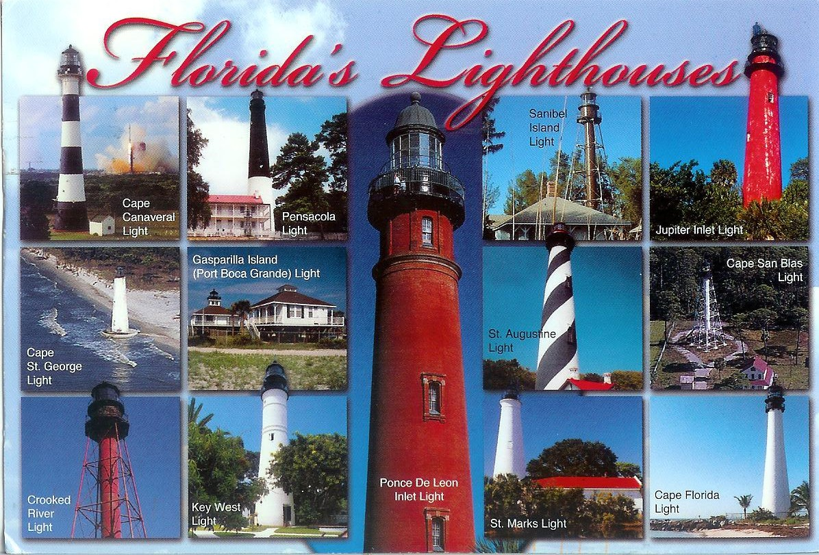 Florida Lighthouses Map.Florida S Lighthouses Remembering Letters And Postcards
