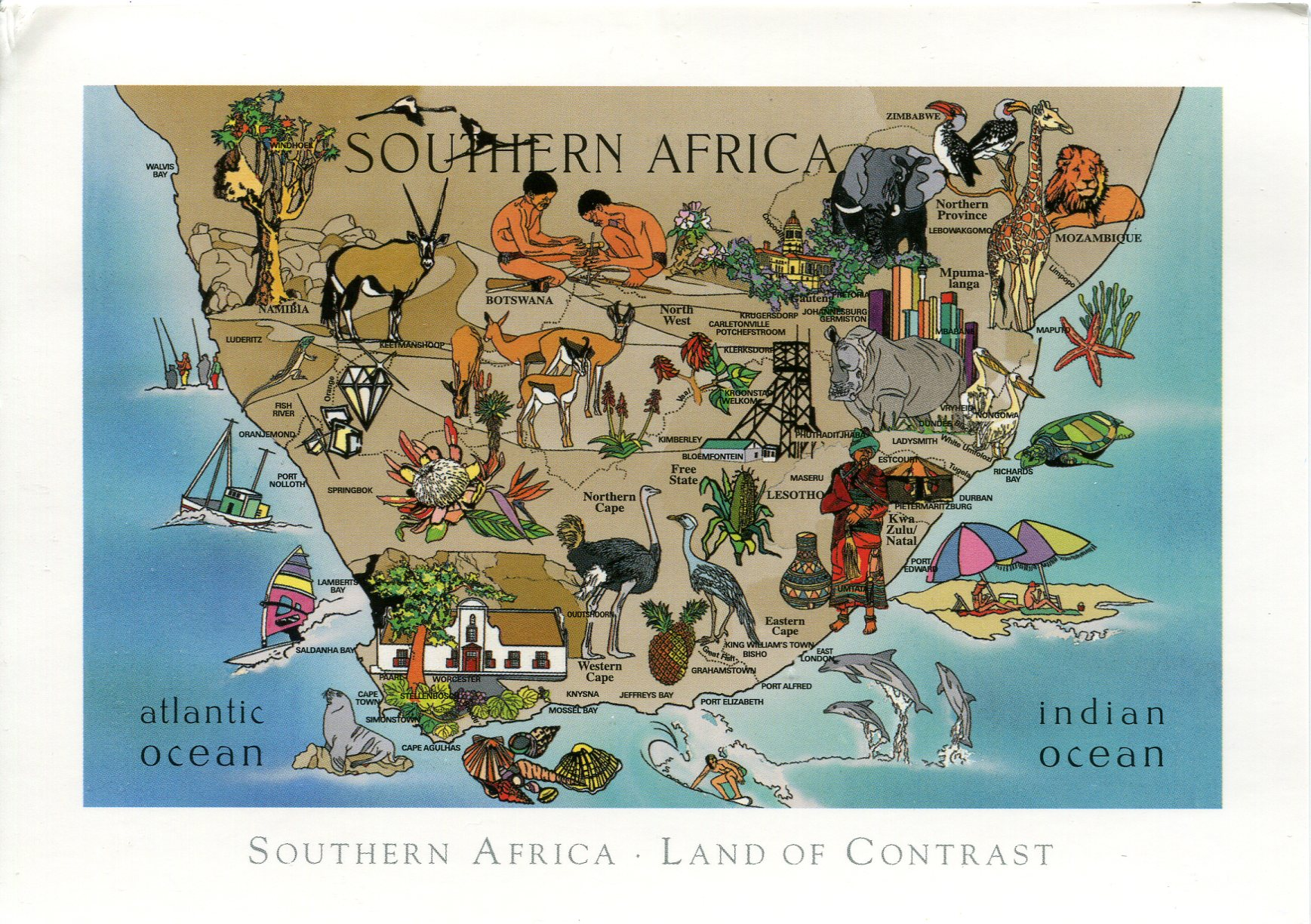 Map of Southern Africa Remembering Letters and Postcards
