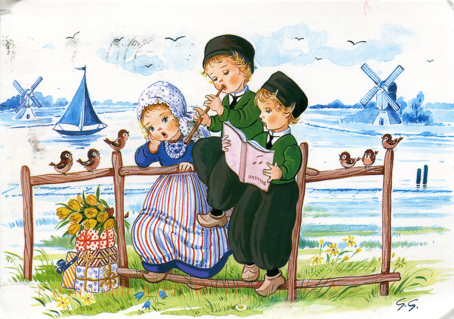 Dutch children playing music remembering letters and for Paintings of toddlers