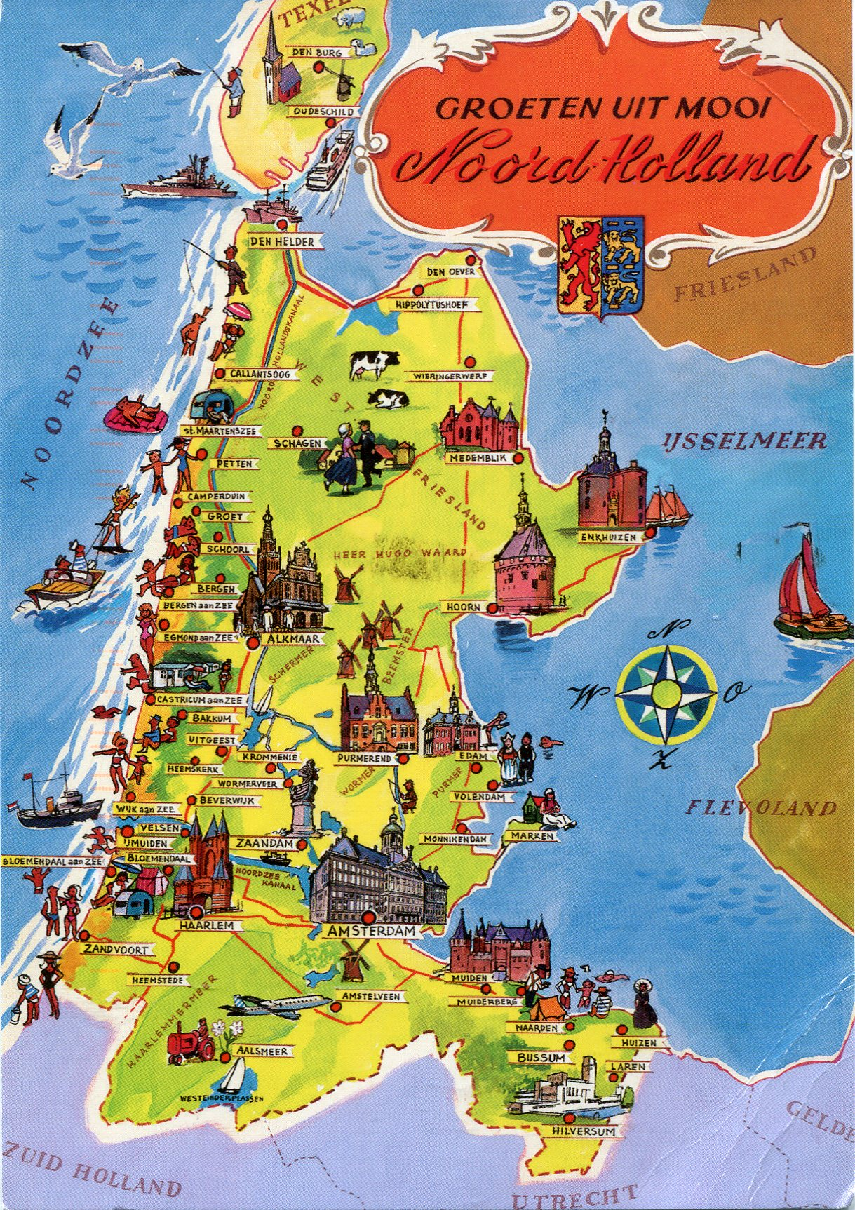 Map of Noord Holland  Remembering Letters and Postcards