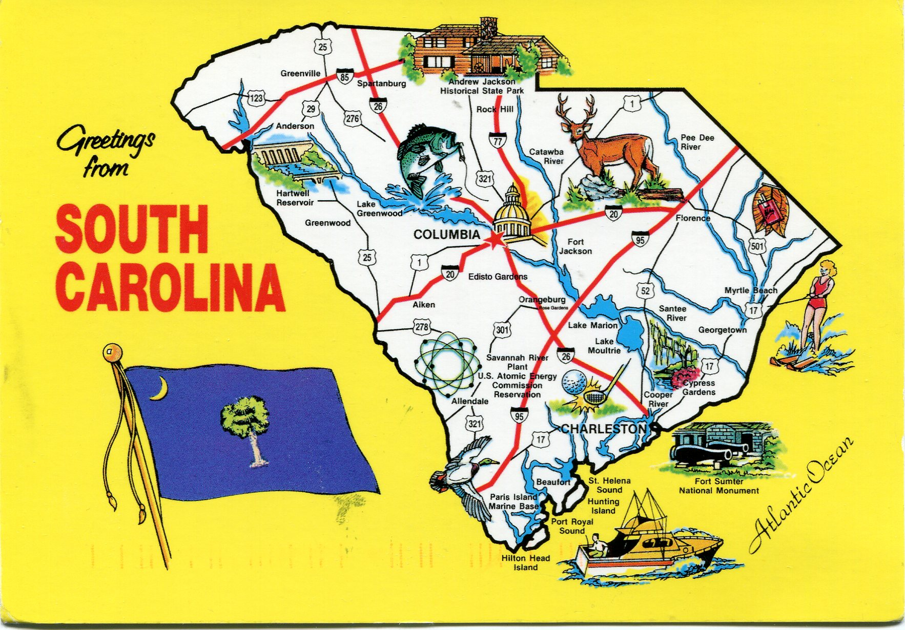 South Carolina Map Remembering Letters And Postcards - Map usa south