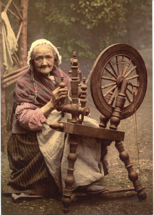 Ireland - Old woman spinning