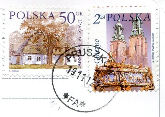 Poland - Black Cat  at the Door stamps