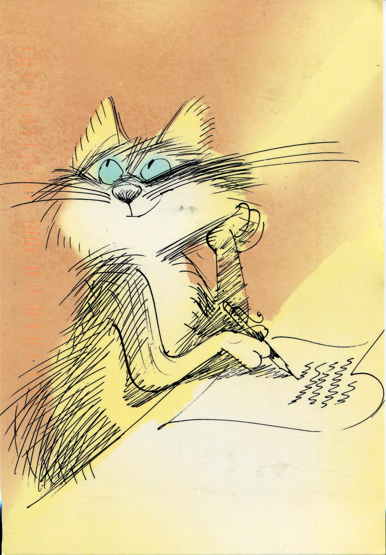 cat writing remembering letters and postcards cat writing