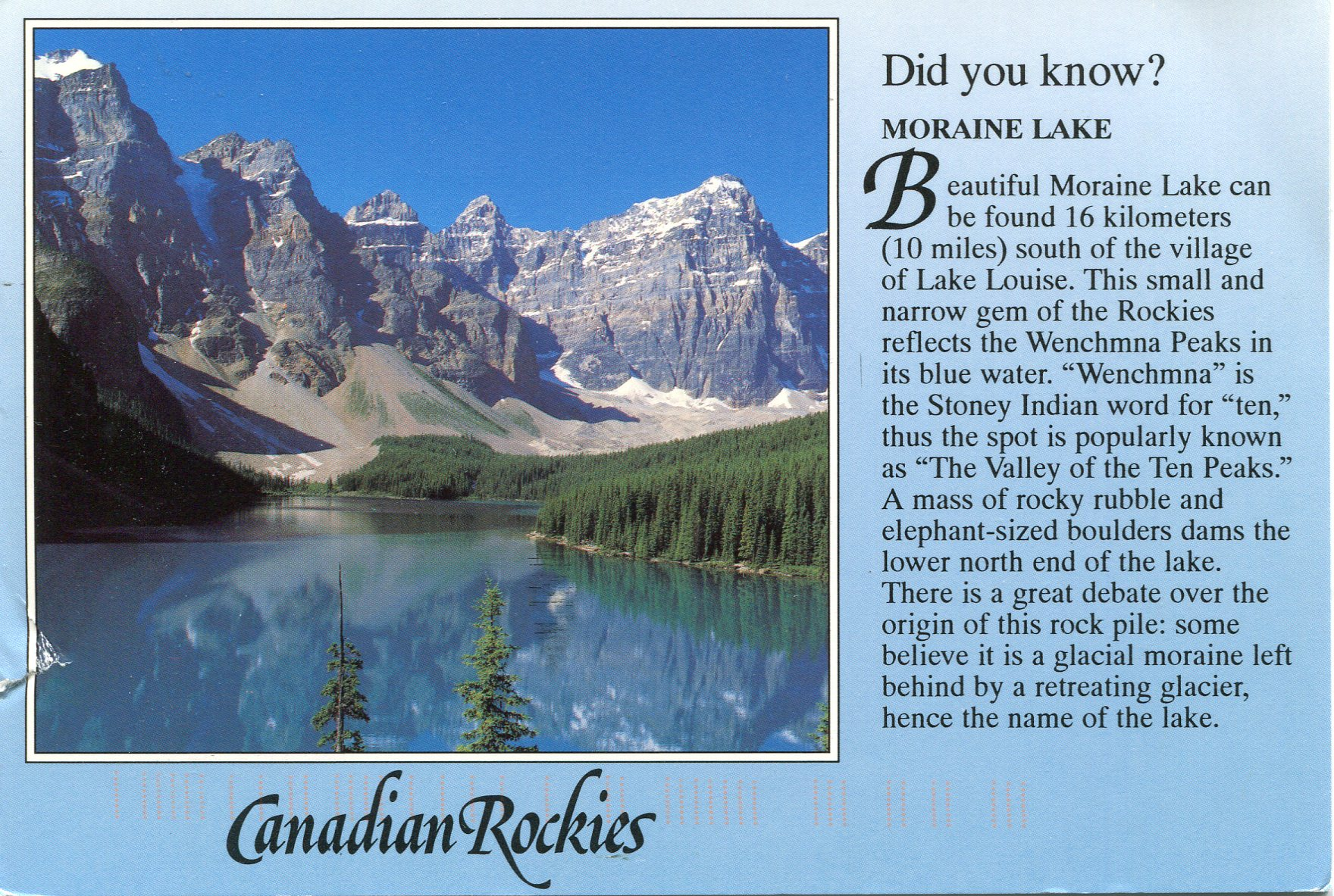 Moraine Lake Remembering Letters And Postcards