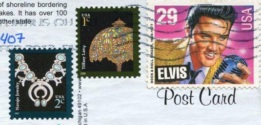 USA - Michigan - Lighthouses Map stamps