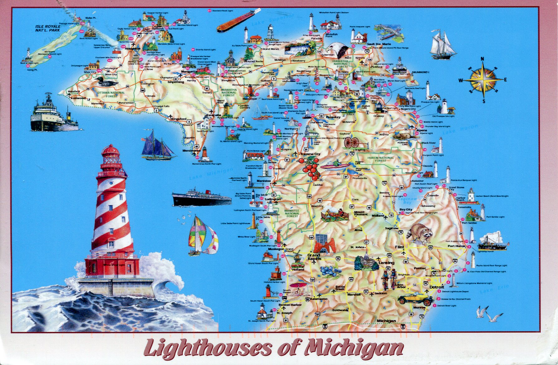 Lighthouses Of Michigan Map Remembering Letters And Postcards - Norway lighthouses map