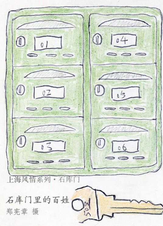 China - Street Scene drawing of mailboxes