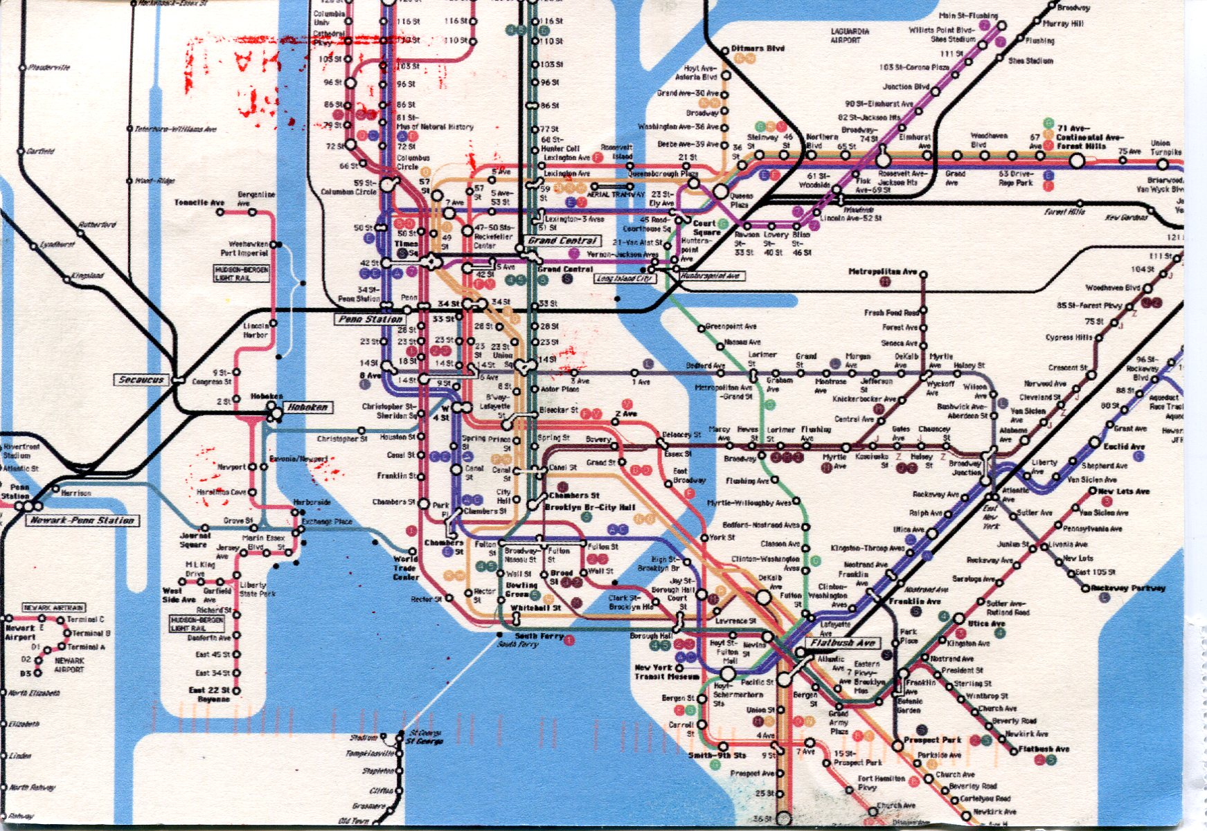 New York City Subway Map Remembering Letters and Postcards