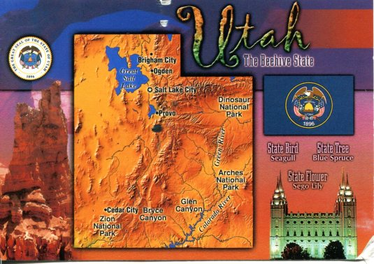 USA - Utah - Map card