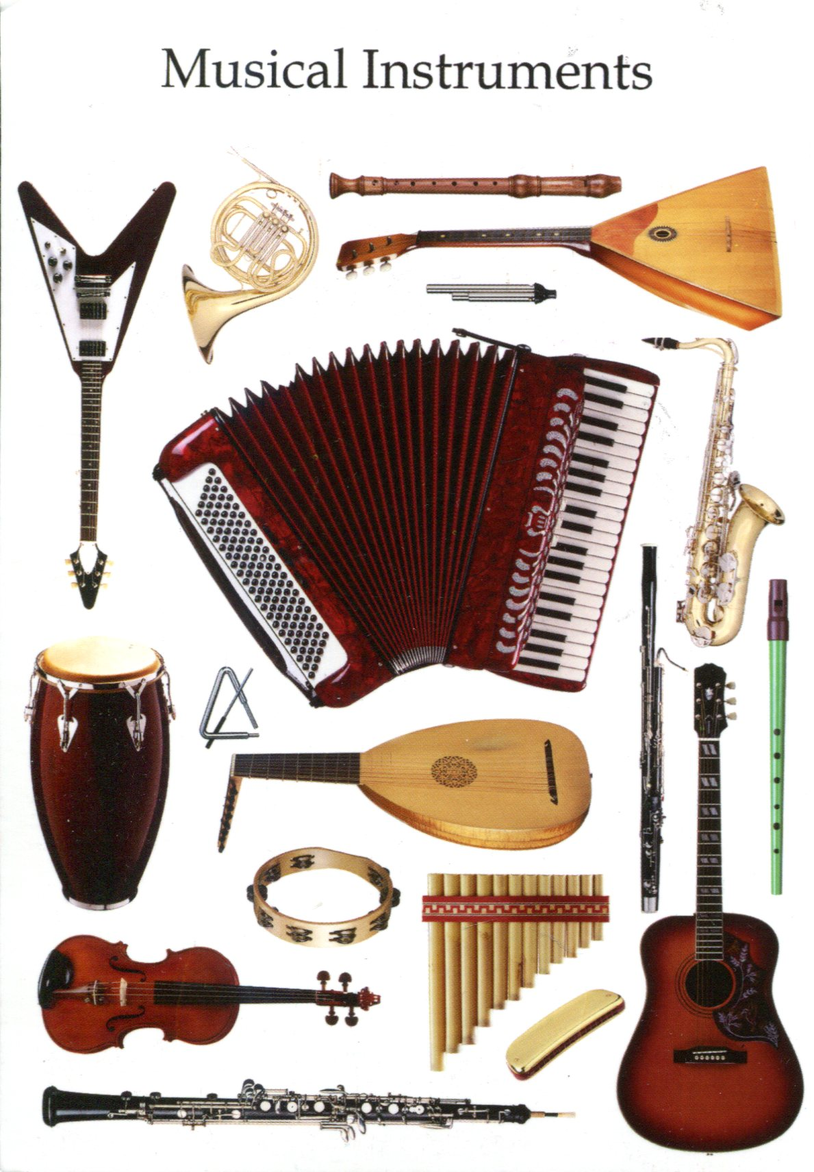 the traditional russian folk instruments Similar folk instruments are found in many arabic and european cultures see albogue, alboka, diplica, hornpipe, pibgorn, and sipsi charango: ten string instrument, made from the shell of an armadillo an amerindian version of the imported european mandolin found in andean region cheng (1): half tube plucked zither of the han chinese.