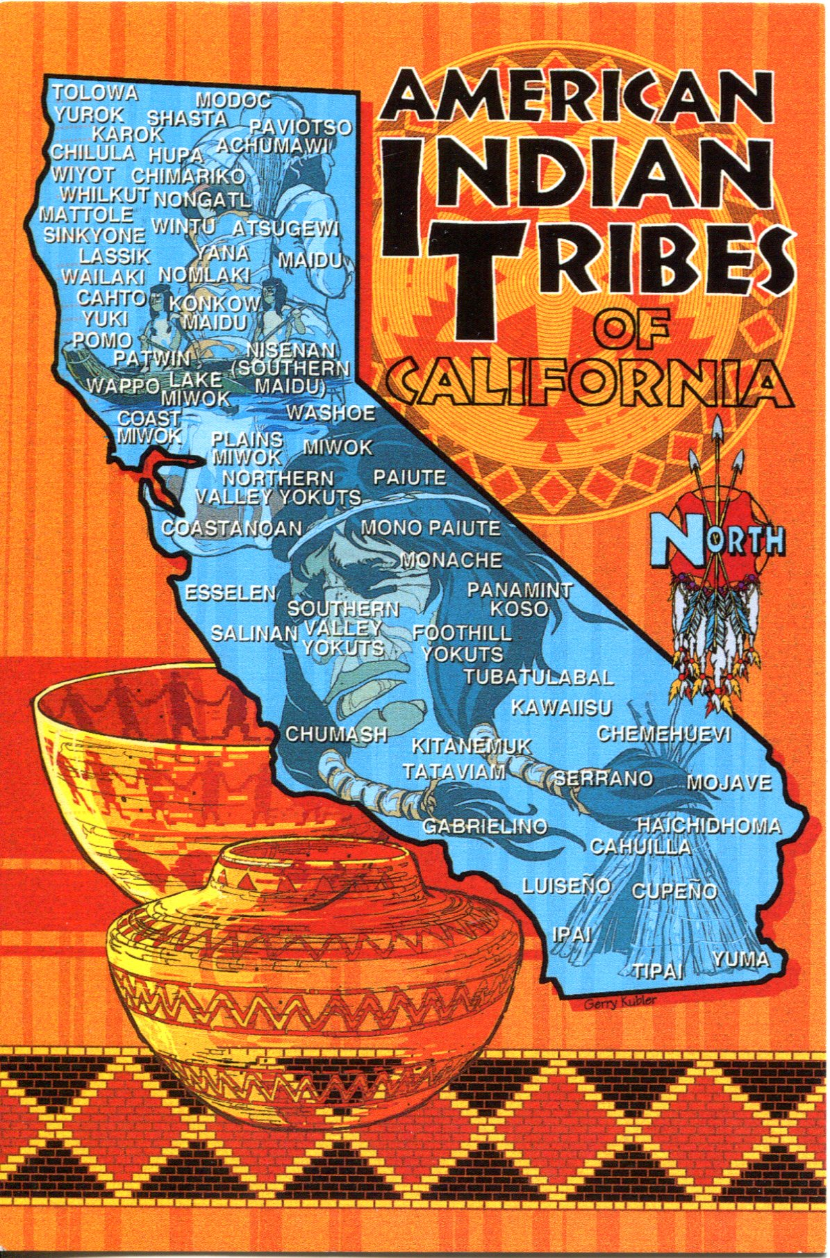USA  California Remembering Letters And Postcards - Map of native american tribes in arizona