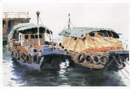 Hong Kong - Boats art card