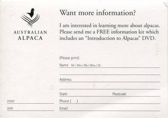 Australia - Ad card alpacas back