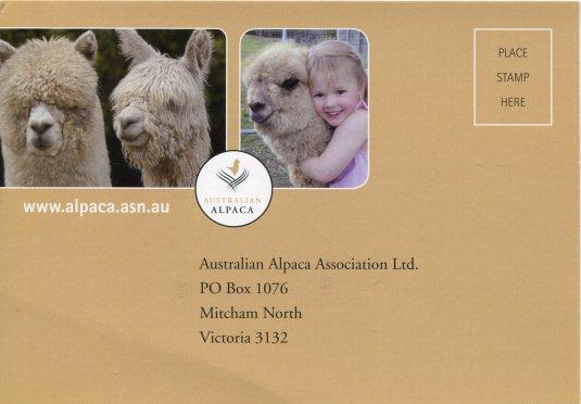 Australia - Ad card alpacas front