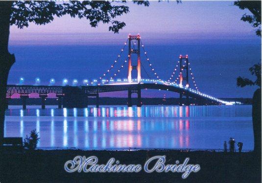 USA - Michigan - Mackinac Bridge at night