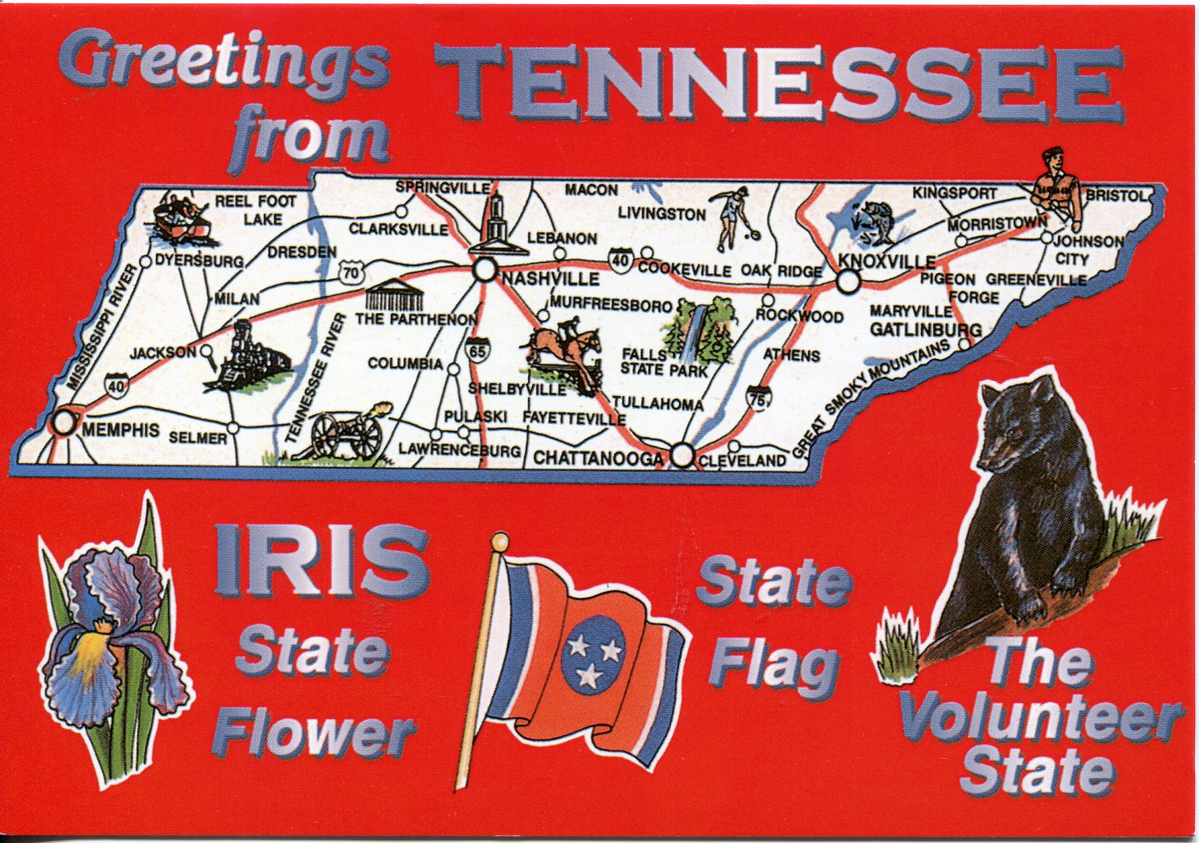 Map Of Tennessee Remembering Letters And Postcards - Map of tennessee