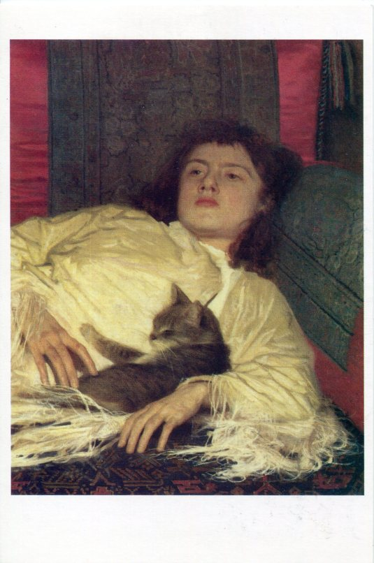 Russia - Kramskoy Young woman and cat