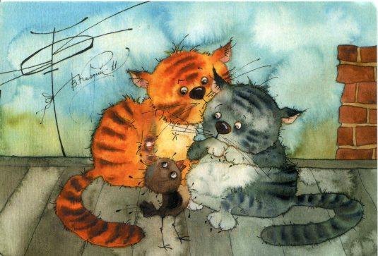 Russia - Kirdiy - Cats and Bird