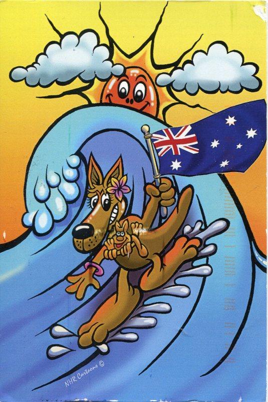 Australia - Kangaroo Mom Surfing