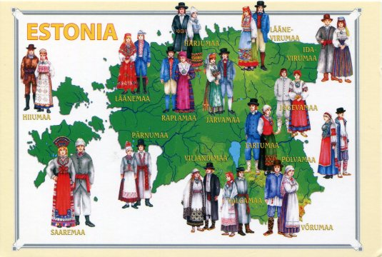 Estonia - Map of Folk costumes